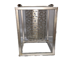 Silver Modern Geometric Cylinder Suspended Modern Lantern with Metal Frame - Small