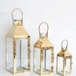 Gold Metal Glass Lantern Large