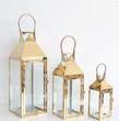 Gold Metal Glass Lantern Medium