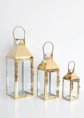 Gold Metal Glass Lantern Large