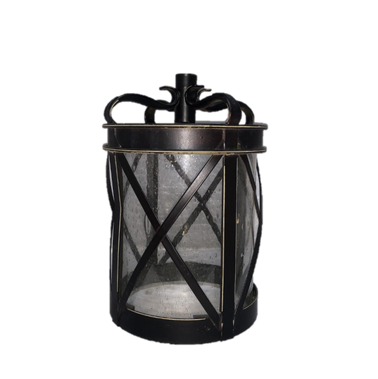 "Black Metal Round Lantern with ""X"" Pattern and Bubble Glass"