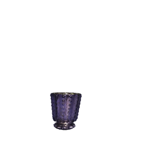 Hobnail Pedastal Base Purple Mercury Glass Votive Holder