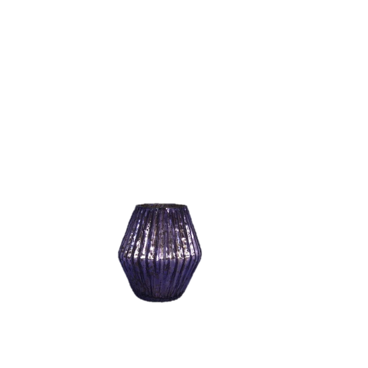 Ribbed Purple Mercury Glass Votive Holder with Swell at the Center