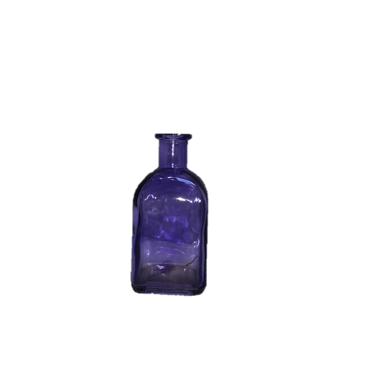 Purple Glass Bud Vase Short Bottle with Square Medicine Bottle Shape