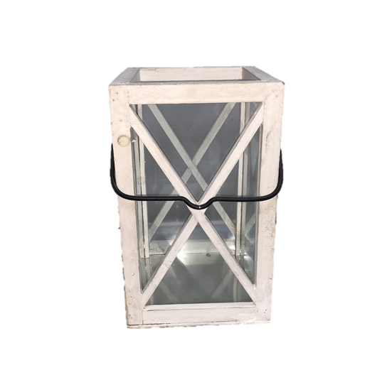 "White Wooden ""X"" Lantern wtih Metal Base"