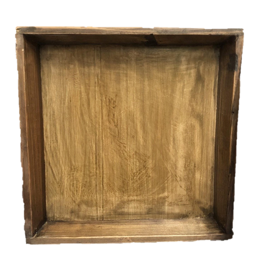 Wooden Shallow Square Box with Flared Edges