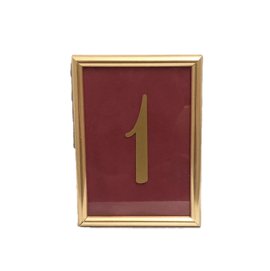 Gold Framed Table Numbers with Gold Numbers and Interchangable Colored Paper