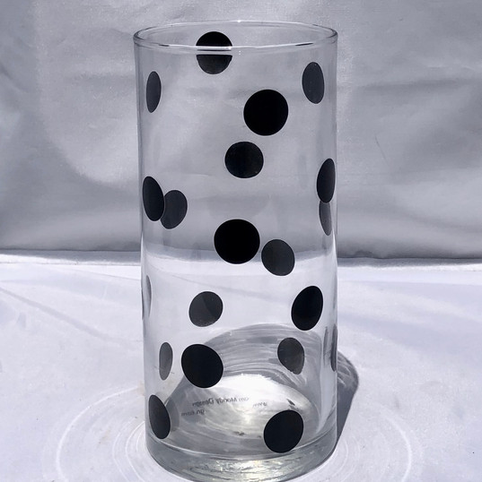 Glass Cylinder with Black Polka Dots