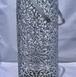 Silver Laser Cut Lace Pattern Pillar Candle Lantern Cylinder