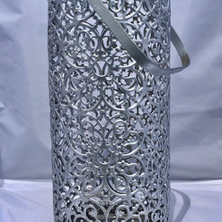 Silver Laser Cut Lace Pattern Pillar Candle Lantern Cylinder