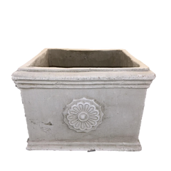 Heavy Stonelike Planter with Ornamental Medallion and Trim at Top and Bottom