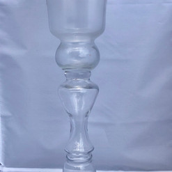 Glass Pedastal with Polished Silver Top Finish