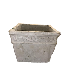Heavy Stonelike Planter with Ornamental Raised Scrollwork and Band Design at Top