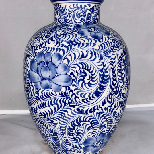 Chinoiserie Blue Handpainted Ceramic Vessel with All Over Blue Pattern