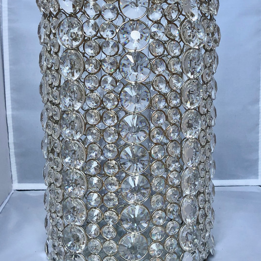Swavorski Crystal Pillar Cylindercal Candle Holder with Gold Metal Settings
