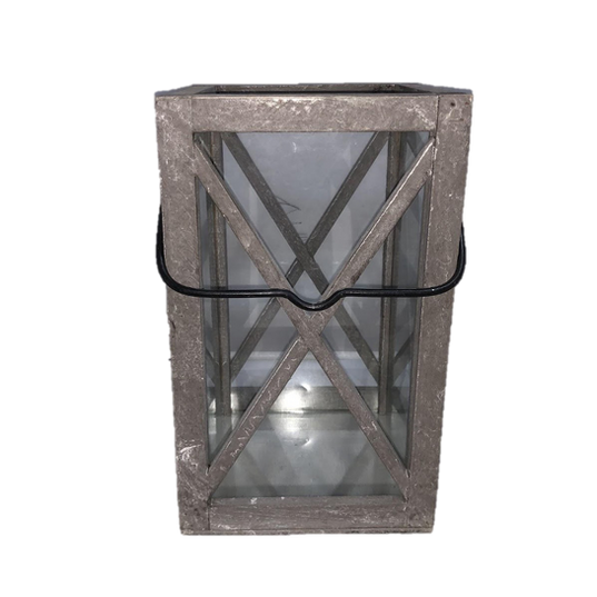 Black Metal Wrought Iron Looking Lantern with Glass Panels