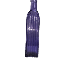 Purple Glass Bud Vase Tall Bottle with Glass Bottle Shape with Squared Bottom and Vertcle Ribbing
