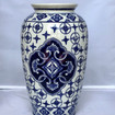 Chinoiserie Tall Traditional Ceramic with Blue Design Vase