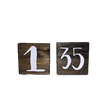 Dark Stained Wooden Squares with White Table Numbers