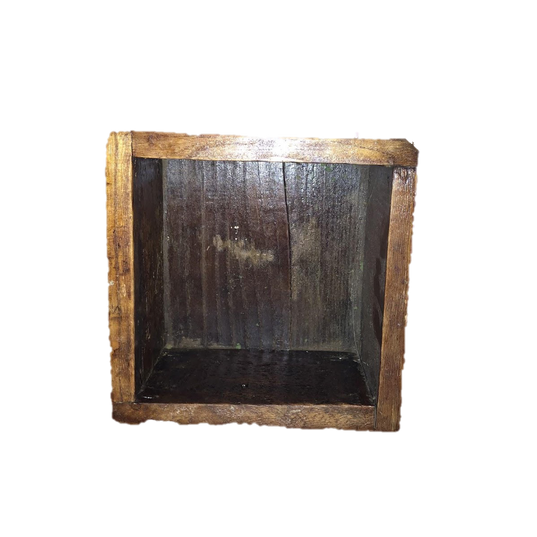 Dark Stained Square Wooden Box
