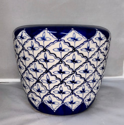 Shallow Navy Blue and White Hand Painted Flower Pot style Container