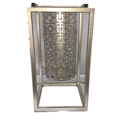Silver Modern Geometric Cylinder Suspended Modern Lantern with Metal Frame - Large