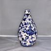 Chinoiserie Blue Handpainted Ceramic Vessel with Predominiate White Background