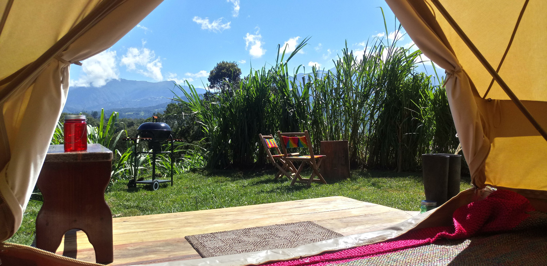 view from glamping tent finca corazon
