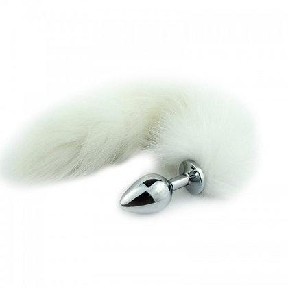 Plug Anal em Metal 7cm com Cauda Branca (P)