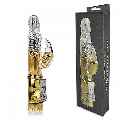 Vibrador Rotativo 36 Funções com Estimulador Clitoriano - YOUVIBE Dourado