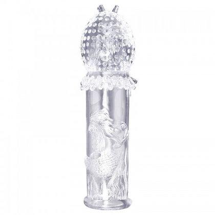 Capa Peniana Transparente com Saliências e Cerdas para Estimulação