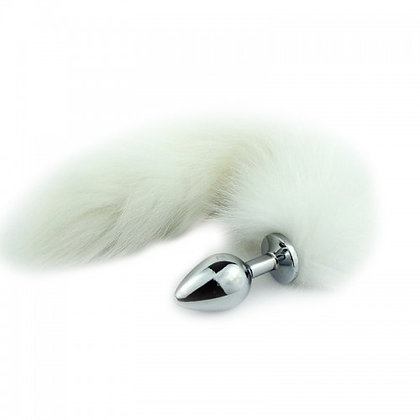 Plug Anal em Metal 8,5cm com Cauda Branca (M)