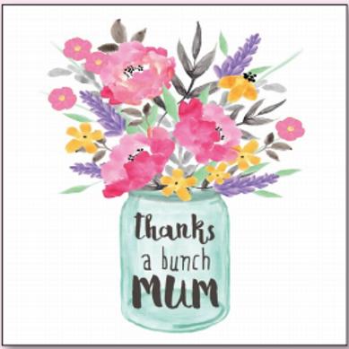 """Thanks A Bunch Mum"" card"