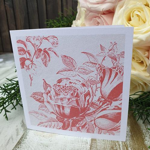 Vintage Bloom Card -Dusky Rose Pink