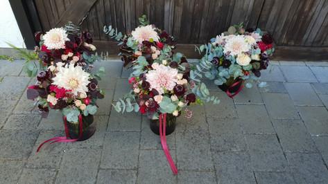 Dahlia, rose, scabiosa, snapdragon bridal bouquet