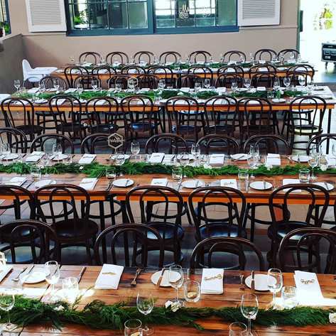 Reception greenery table runners