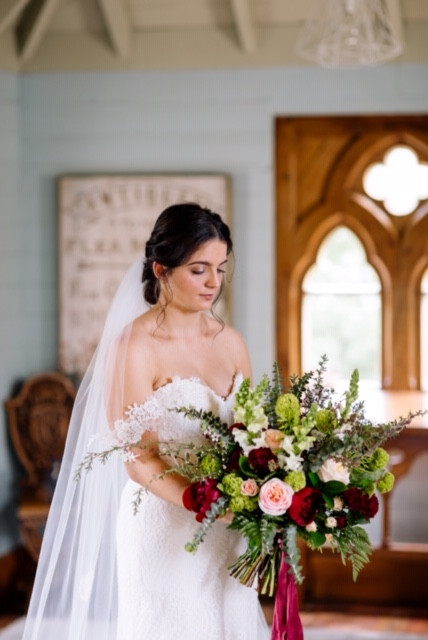 Peony and rose rustic bouquet