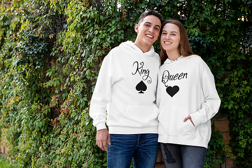 Athllete Couple Hoodies King Queen Leave & Heart