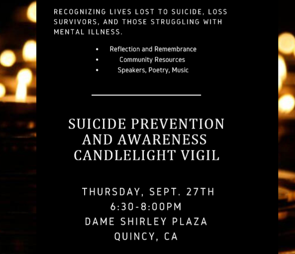Suicide Prevention and Awareness Vigil - To share personal reflections or write sentiments to be read aloud, email nmartynn@frc.edu (sponsored by FRC, PRS, SAMHSA).