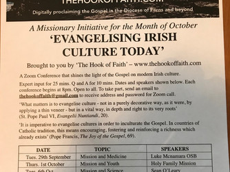 REMINDER - 'EVANGELISING IRISH CULTURE TODAY' - A ZOOM CONFERENCE FOR THE MONTH OF OCTOBER