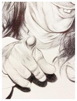 Detalle retrato a bolígrafo negro