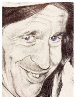 Detalle retrato a bolígrafo negro y azul.