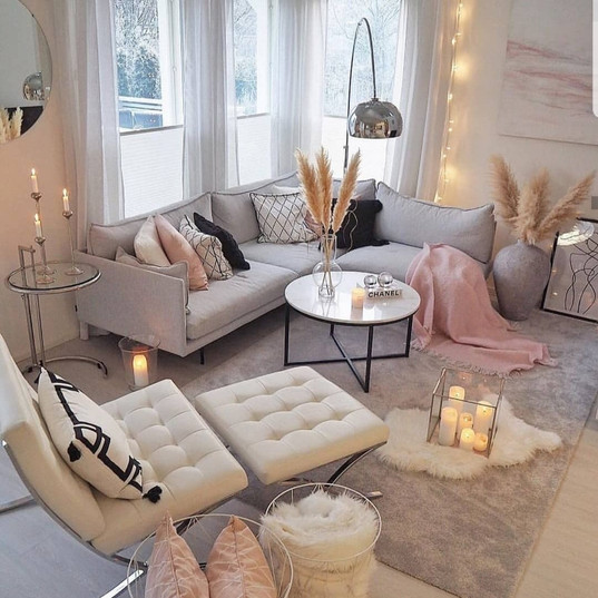This Living room is so light and bright, Grey & Pink works so well together.
