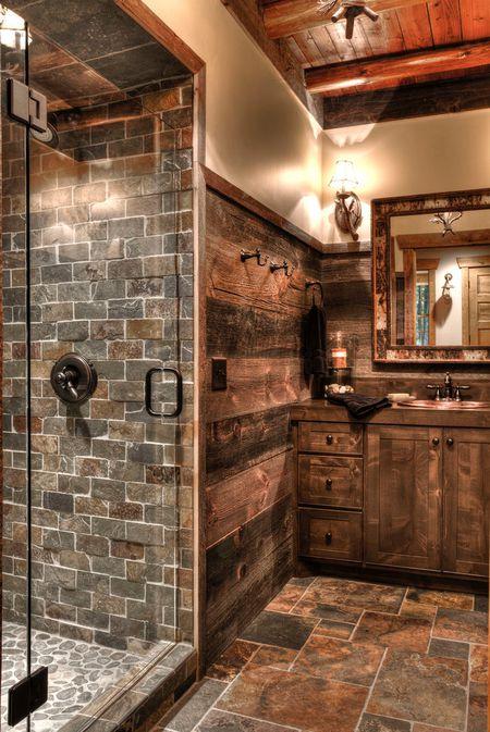 rustic bathroom for natural interior design trend