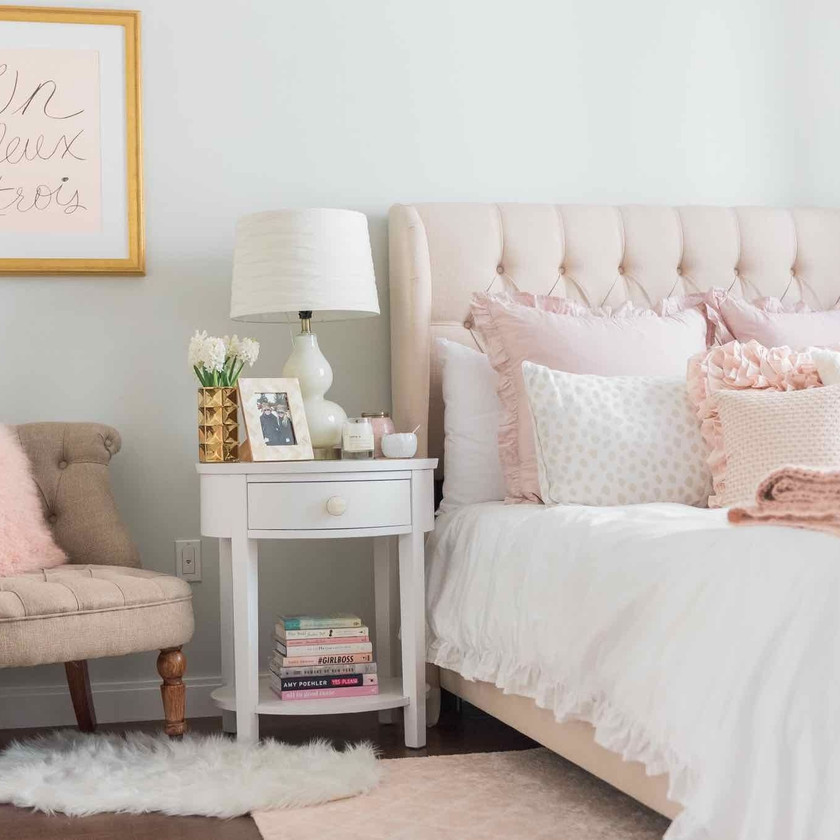 bedroom with grey and pink colour theme for interior design