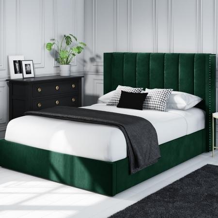 hunter green velvet bed