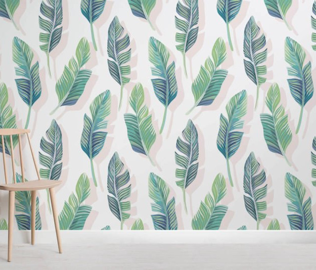 large palm wallpaper design for nature interior design theme