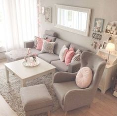 Grey and pink colour palette interior design