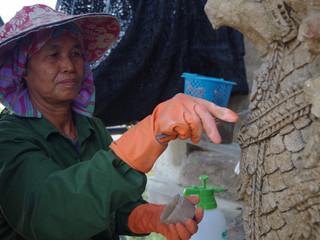 Les restaurateurs et conservateurs d'Ayutthaya