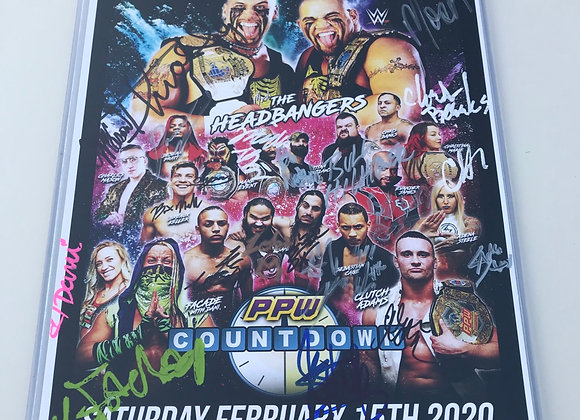PPW AUTHENTIC AUTOGRAPH COUNTDOWN SIGNED EVENT POSTER